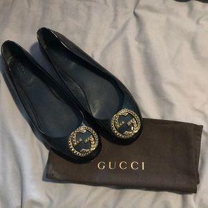 Gucci ballerina patent leather flats